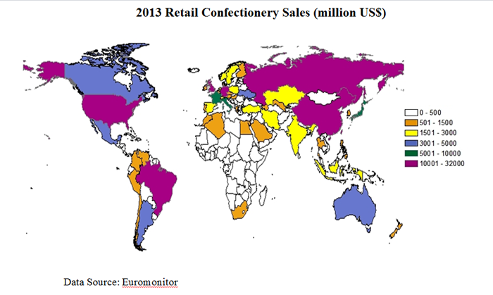 Map of the U.S. showing 2013 retail confectionery sales by country.  Russia, China and Brazil rank among the largest buyers