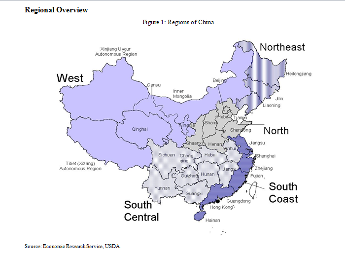 Map showing regions of China