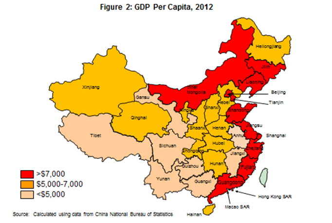 Map showing 2012 per capita GDP, by region, in China.