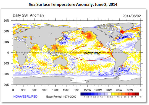 Map showing Sea Surface Temperature Anomaly in the Pacific Ocean on June 2, 2014