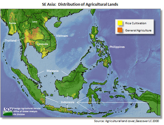 map showing a distribution of agricultural lands in south east asia