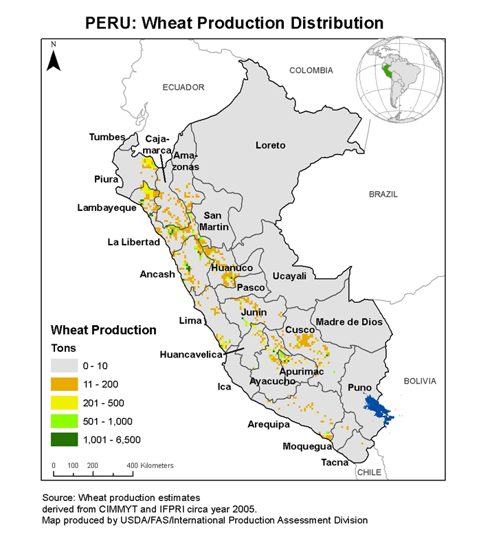 Map of Peru showing wheat production distribution.  Most of the production is central and to the West.