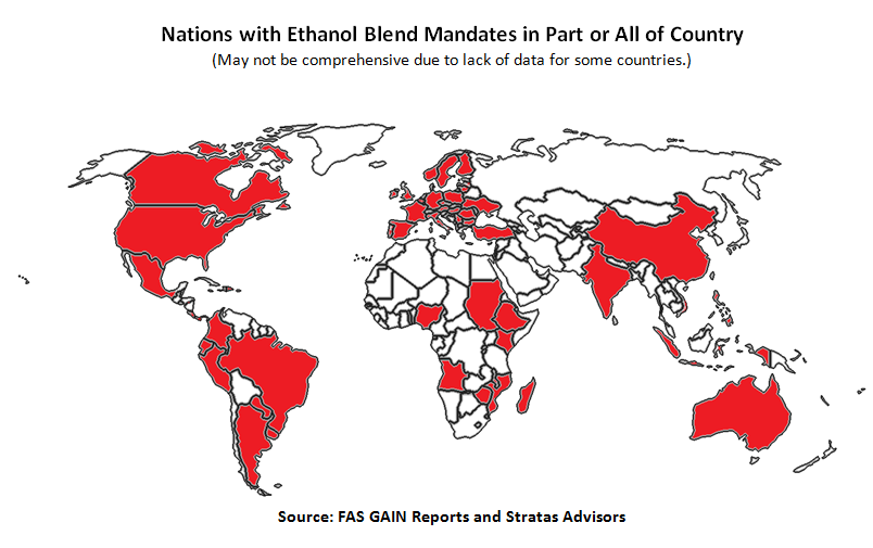 Nations with ethanol blend mandates in part or all of the country.