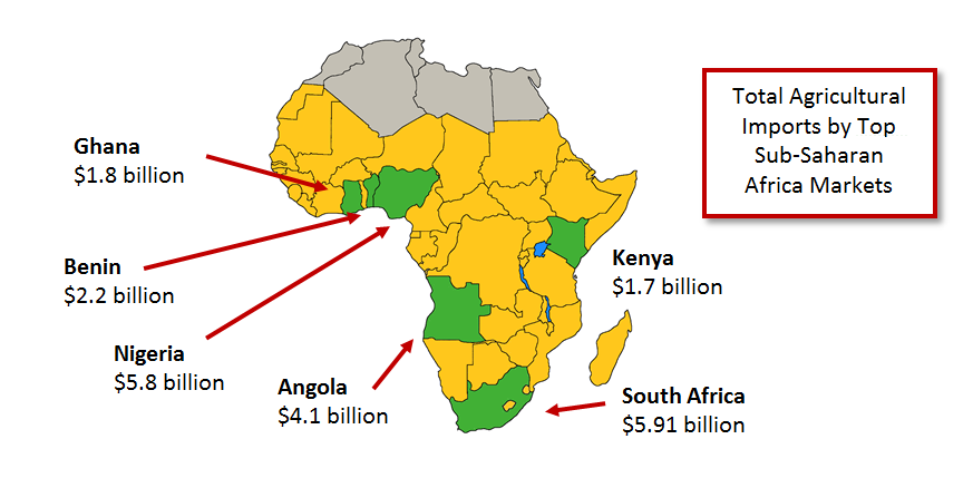 Map of Africa demonstrating that South Africa, Nigeria, Angola, Benin, Ghana, and Kenya are the largest importers of ag products, accounting for half of the imports to the Sub-Saharan Africa region.