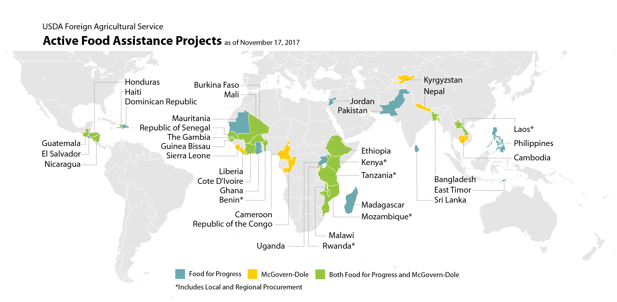 Map illustrating which countries currently host active McGovern-Dole and Food for Progress projects