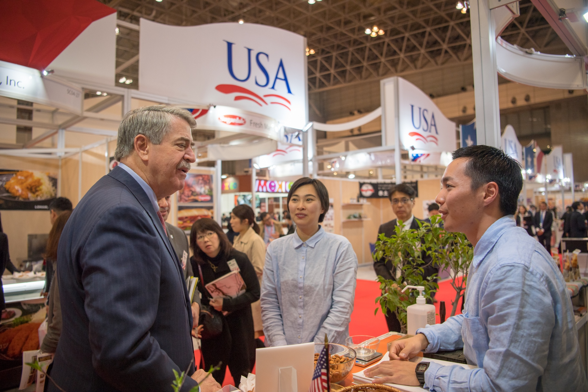 USDA Under Secretary for Trade and Foreign Agricultural Affairs Ted McKinney visits the USA Pavilion at FOODEX Japan.