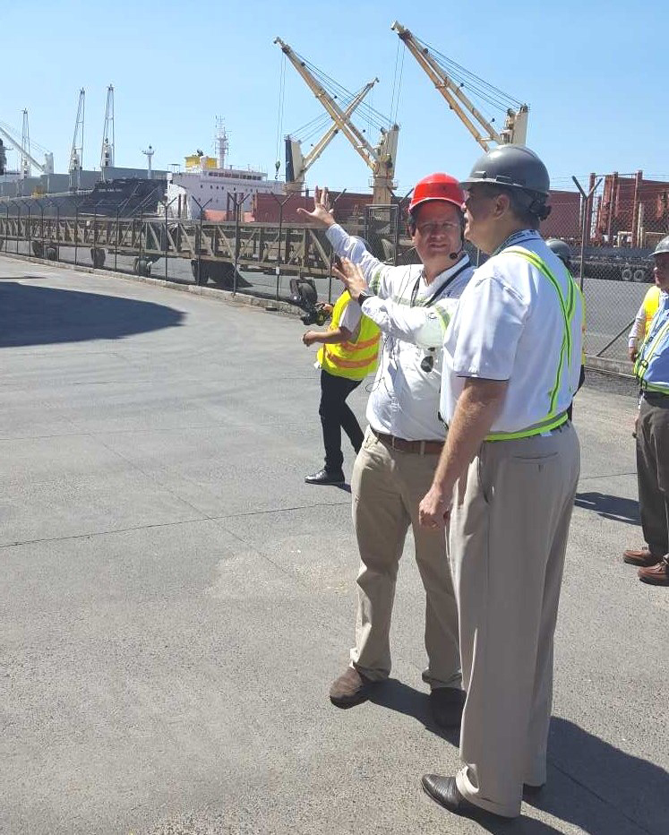 In Guatemala this week, Under Secretary for Trade and Foreign Agricultural Affairs Ted McKinney (right) toured the terminal at Port Quetzal where 60 percent of U.S. bulk grain exports to Guatemala are received.