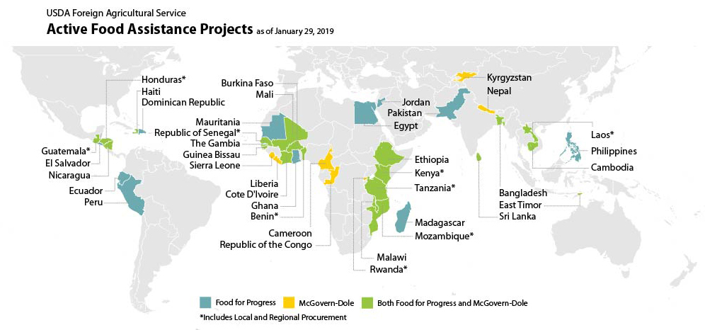 Map showing active food security projects by FAS around the world