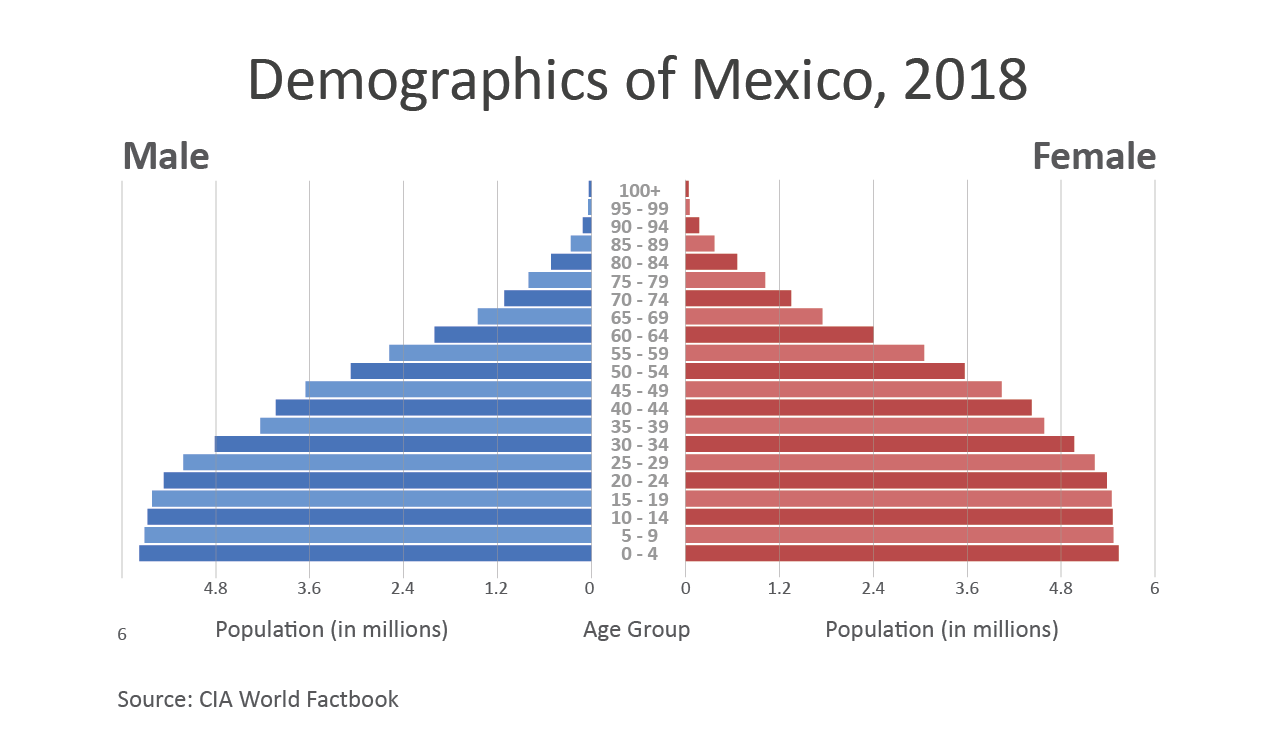 Population pyramid showing the distribution of Mexican citizens by gender and age.