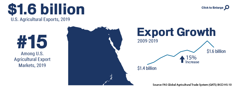 Infographic showing U.S. agricultural trade with Egypt in 2019