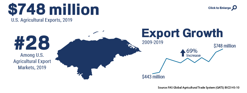 Infographic showing U.S. agricultural trade with Honduras in 2019