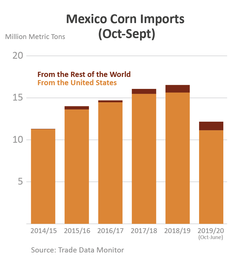 Column chart showing corn exports to Mexico broken down by U.S. exports and rest of world.