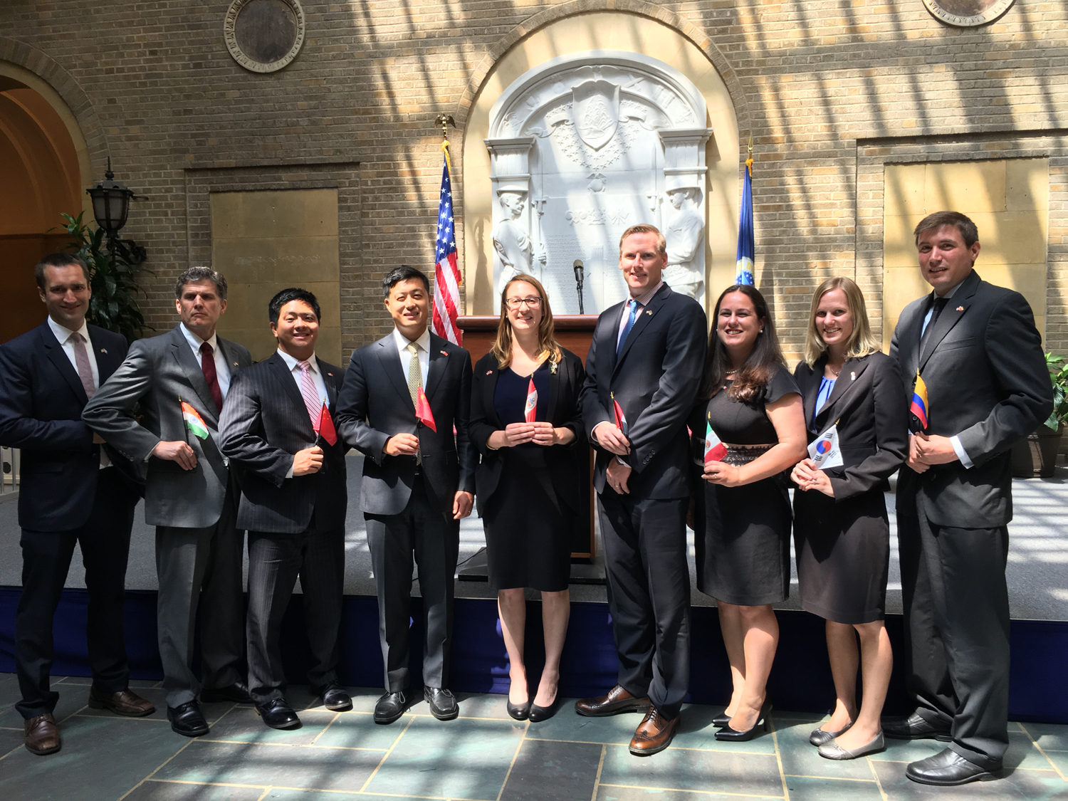 Ten employees of the U.S. Department of Agriculture's (USDA) Foreign Agricultural Service (FAS) were sworn in as Foreign Service Officers today during a ceremony at USDA headquarters in Washington.