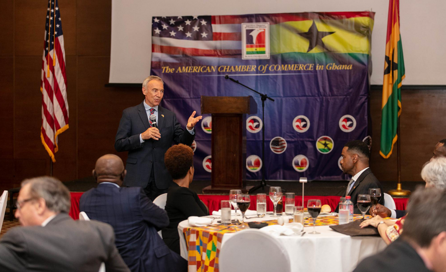 U.S. Deputy Secretary of Agriculture Censky speaks with the American Chamber of Commerce in Ghana to discuss the region's business climate and the growing opportunities for exports of U.S. food and farm products to help meet increasing consumer demand.