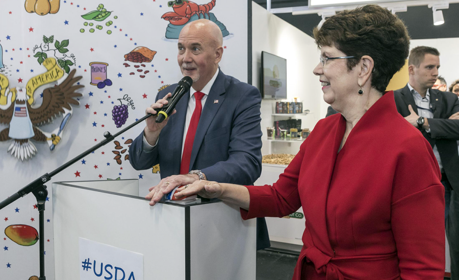 FAS Administrator Ken Isley and U.S. Chargé d'Affairs Robin Quinville welcome exhibitors and buyers at the opening of the USA Pavilion at the 2019 Anuga trade show in Cologne, Germany.