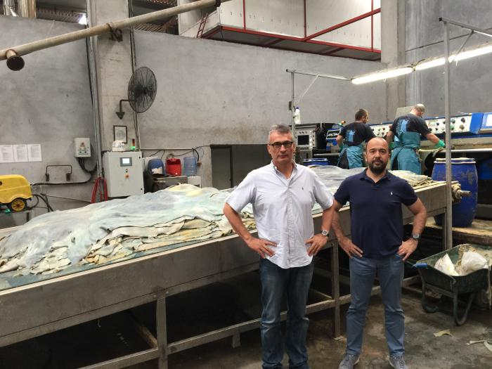 Cousins Burak (left) and Altug Uyguner at the Istanbul processing facility of Uyguner Leather, a major importer of U.S. hides.