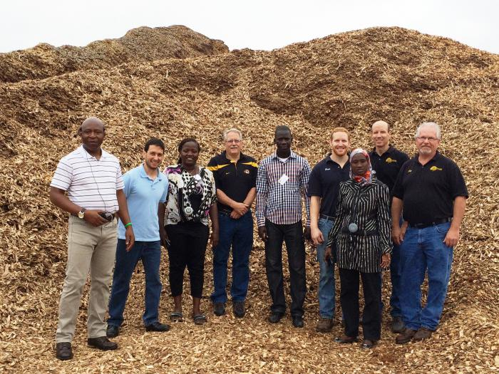 University of Missouri faculty and the Cochran Fellows stop by the local Foster Brothers Wood Products, Inc. biomass processing facility for a tour.
