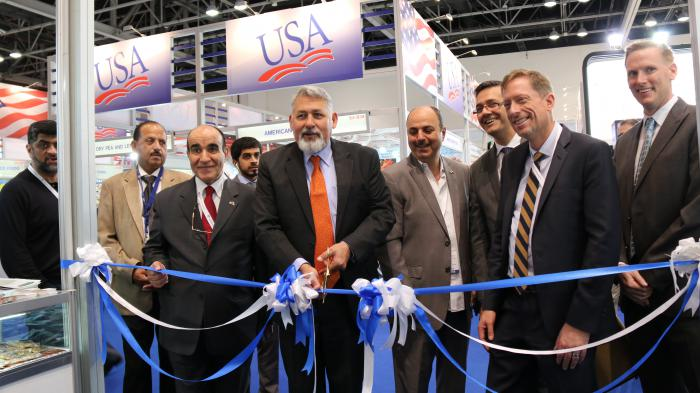 U.S. Consul General Paul Malik officially cuts the opening ribbon for the USA Pavilion at Gulfood 2017.