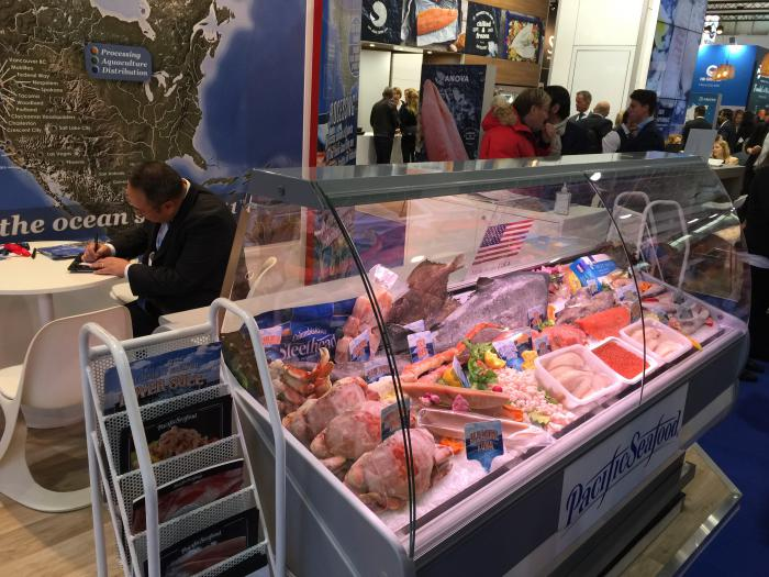 U.S. exhibitors at the Seafood Expo Global in Brussels, Belgium, showcase a great variety of U.S. seafood to attract buyers and reel in record-high sales.