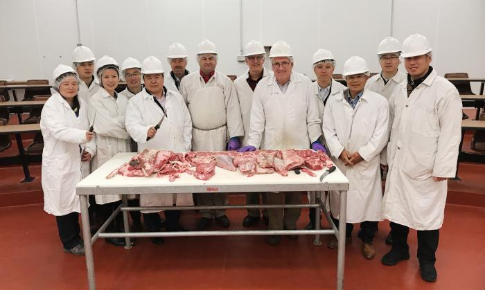 Chinese Cochran Fellows studying fabrication of high value beef cuts at the University of Nebraska