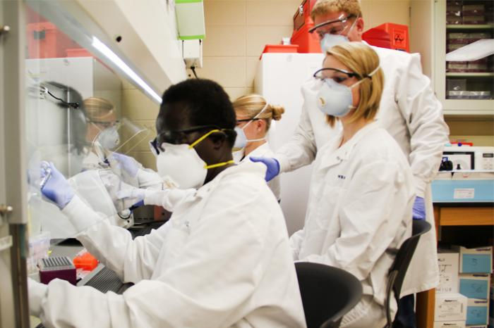 Borlaug fellow Stella Atim of Uganda (left) studies tissue samples in the lab at the University of Wyoming.
