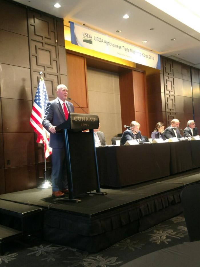 FAS Administrator Ken Isley speaks during the agricultural trade mission in South Korea
