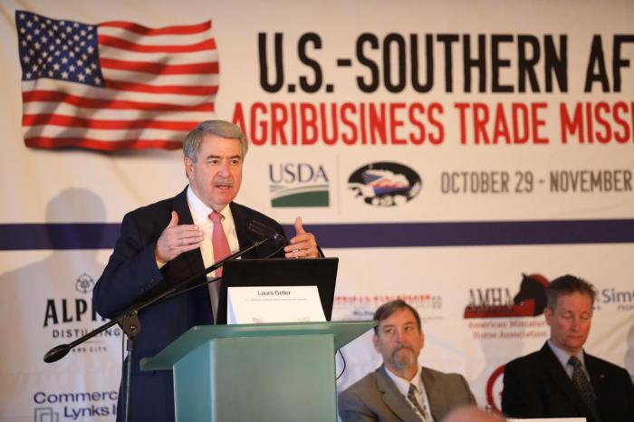 Under Secretary McKinney speaks during the Southern Africa Trade Mission