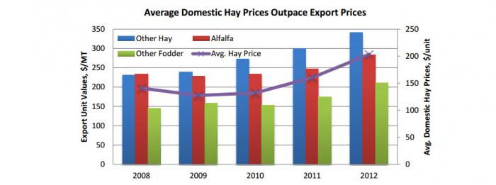 Bar graph showing that Average Domestic Hay Prices Outpace Export Prices