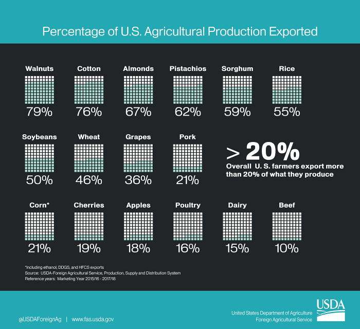 Graphic showing the percentage of U.S. agricultural production which is exported overseas. All told, more than 20 percent of U.S. agriculture is exported.