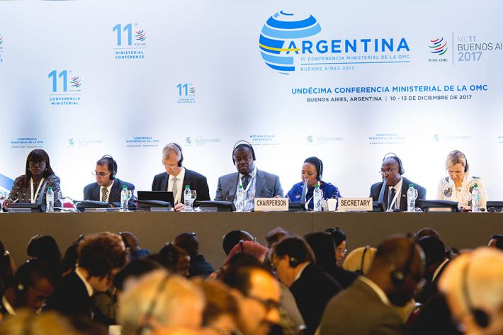 Representatives from World Trade Organization (WTO) member countries participated in agriculture discussions December 13 during the 11th WTO Ministerial Conference in Buenos Aires. (Photo credit: WTO)
