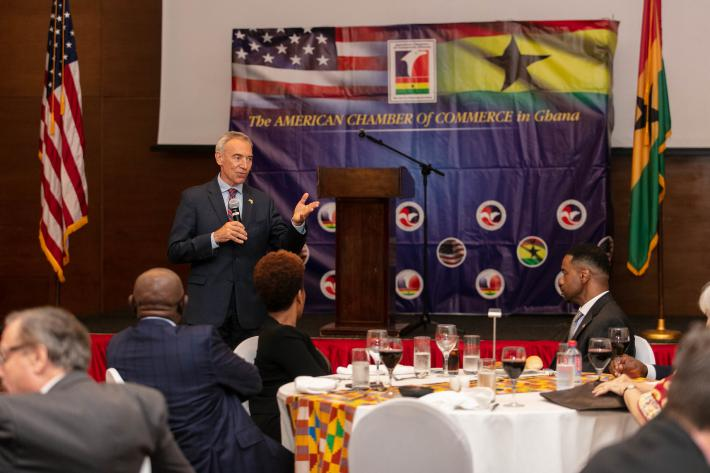 U.S. Deputy Secretary of Agriculture Censky speaks with the American Chamber of Commerce in Ghana.