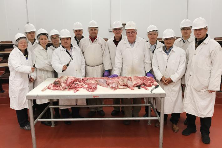 Chinese Cochran Fellows studying fabrication of high value beef cuts at the University of Nebraska.