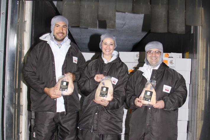 Agricultural Attaché Nicolas Rubio, Agricultural Trade Office Director Chanda Berk and Consul General Ricardo Zuniga onsite in Brazil for the first arrival of U.S. fresh beef.