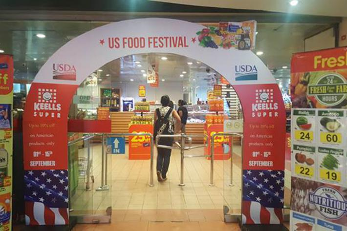 American Food Festival promotional displays welcomed Sri Lankan shoppers at 57 Keells Super store locations.