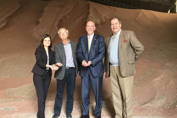 Visit Spain's Port of Tarragona where 13,000 metric tons of U.S. sorghum were recently delivered are (L to R)  FAS Agriculture Attaché Jennifer Clever, Spanish Grain and Oilseeds Traders Association representative Diego Pazos, FAS Administrator Ken Isley,