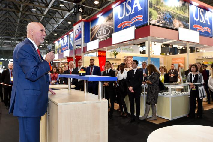 FAS Administrator Ken Isley opens the USA Pavilion at SIAL Paris.
