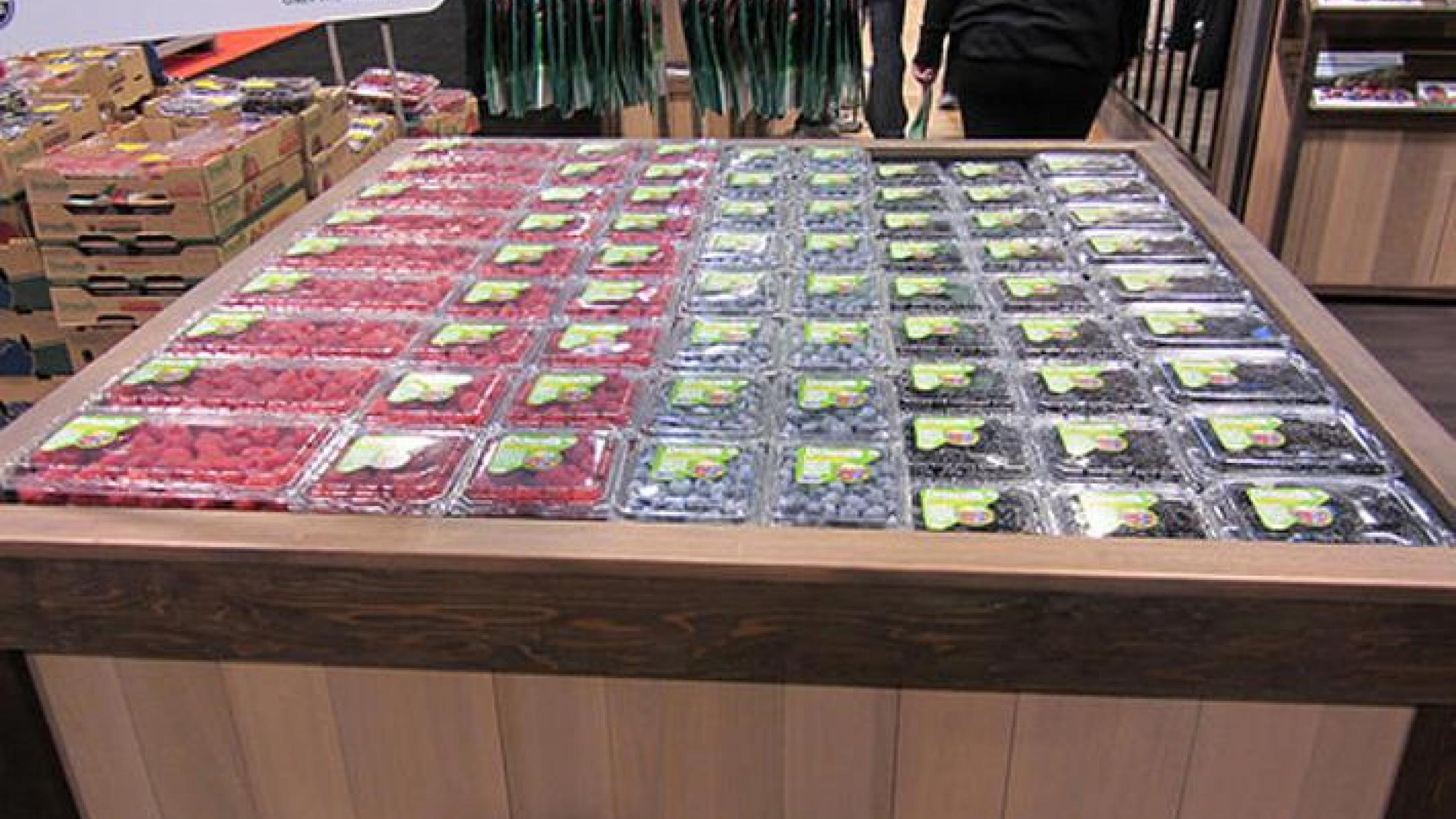 Driscoll's berries being sold in a store (Photograph courtesy of Driscoll's. Copyright 2014. All rights reserved.)